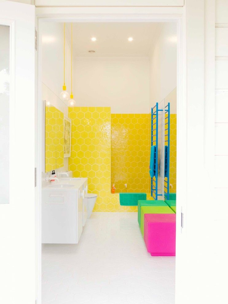 Little Learners Academy for a Eclectic Bathroom with a Hexagon and Blenheim Residence by Alex Fulton Design