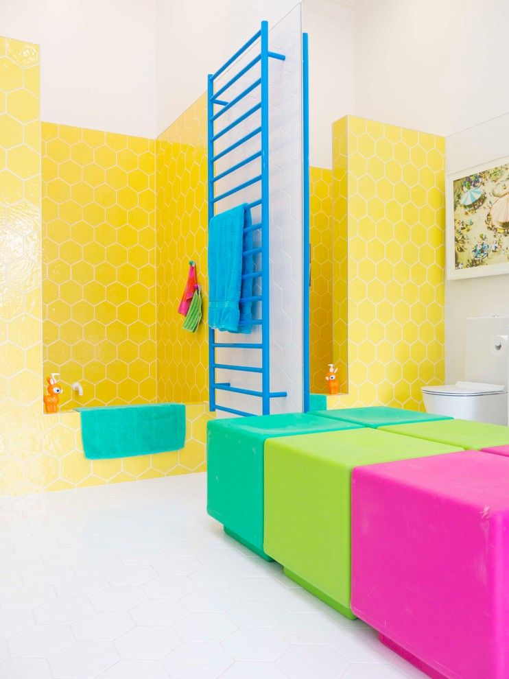 Little Learners Academy for a Eclectic Bathroom with a Hexagon Tiles and Blenheim Residence by Alex Fulton Design
