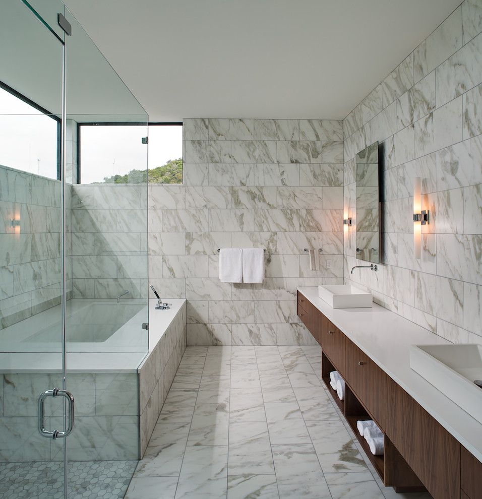 Livex for a Contemporary Bathroom with a Clerestory Widow and 1438 Mount Larson by Moazami Homes