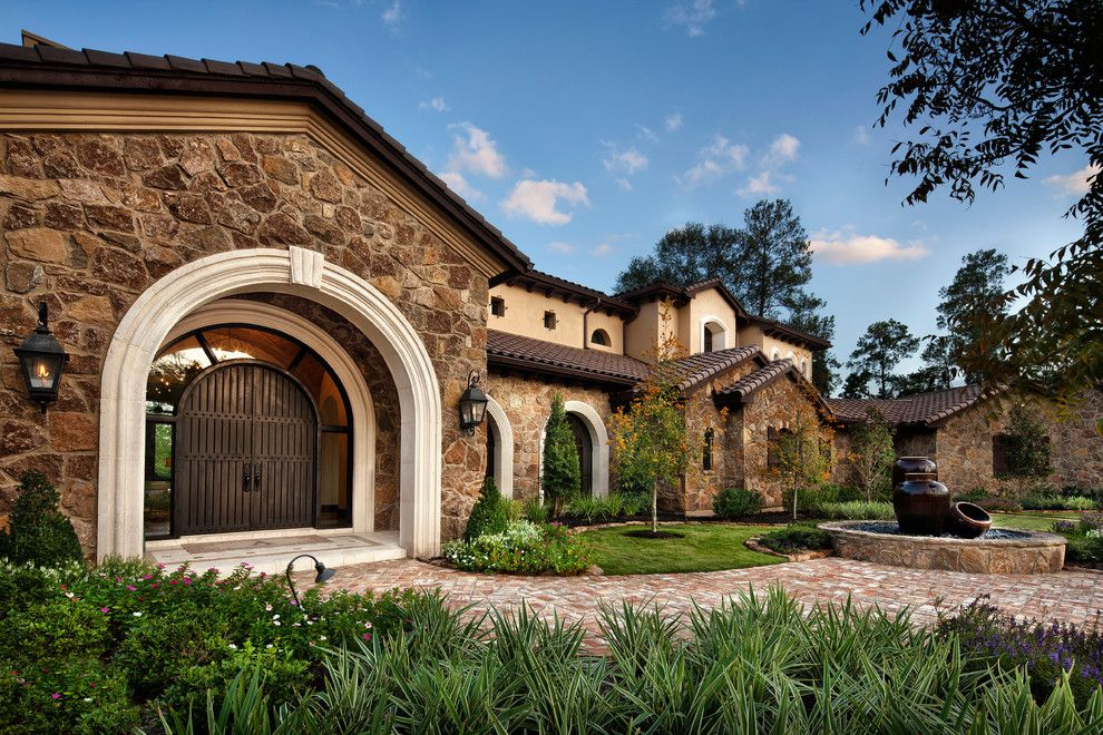 Livex for a Mediterranean Exterior with a Front Yard and Texas Chic by Jauregui Architect Builder