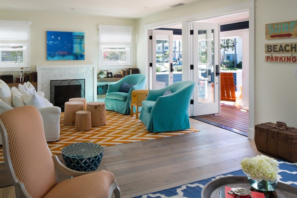 Living at Noho for a Beach Style Living Room with a Chevron Rug and Coronado Beach House by Bruce Peeling Architect