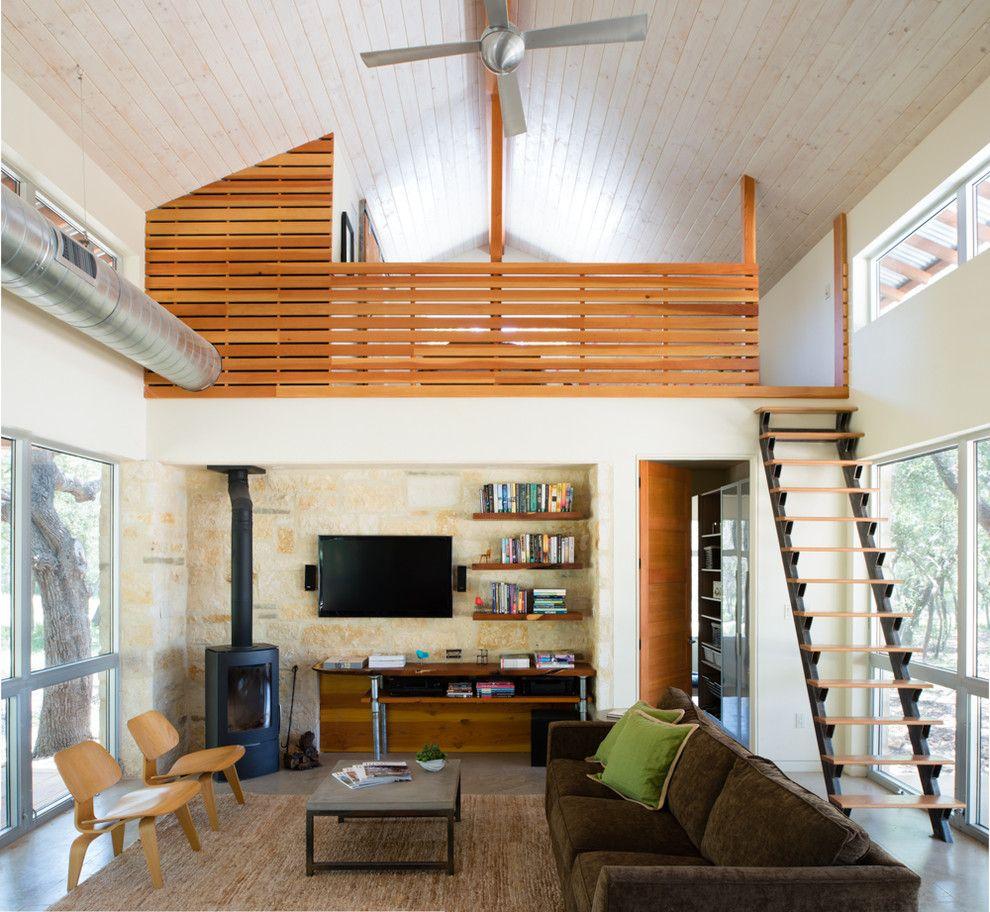 Lofting for a Contemporary Family Room with a Exposed Hvac and Contemporary Family Room by Cmarchtx.com