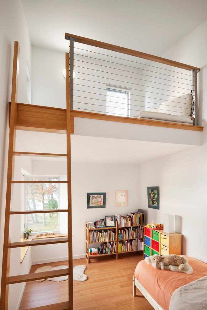 Lofting for a Contemporary Kids with a Colorful Cubbies and Flying Point by Kaplan Thompson Architects