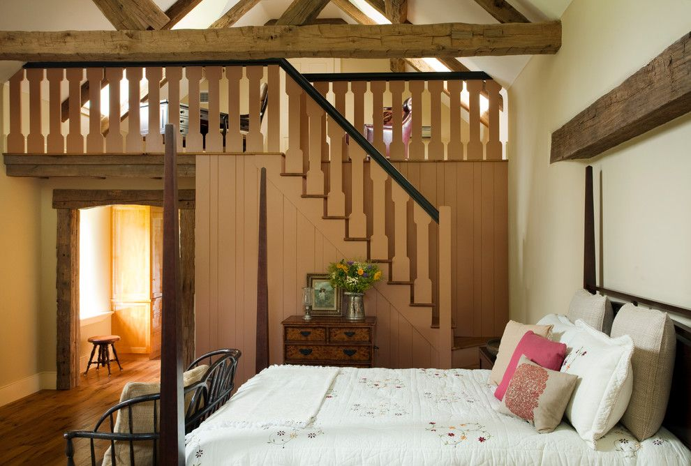 Lofting for a Farmhouse Bedroom with a Exposed Beams and Cold Springs Farm by Period Architecture Ltd.
