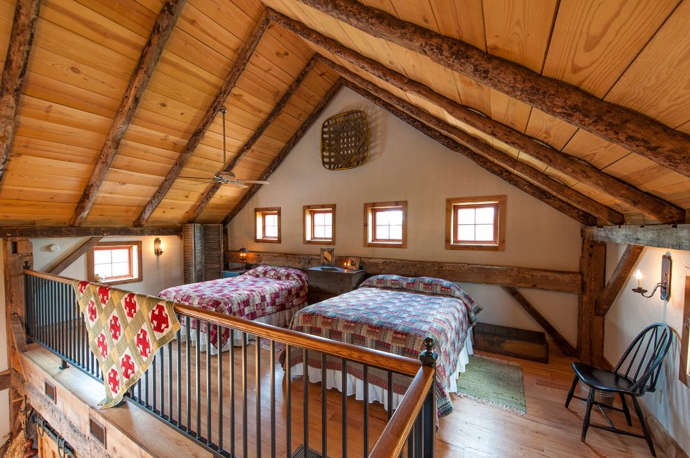 Lofting for a Rustic Bedroom with a Windsor Chair and Greenville Barn by Heritage Restorations
