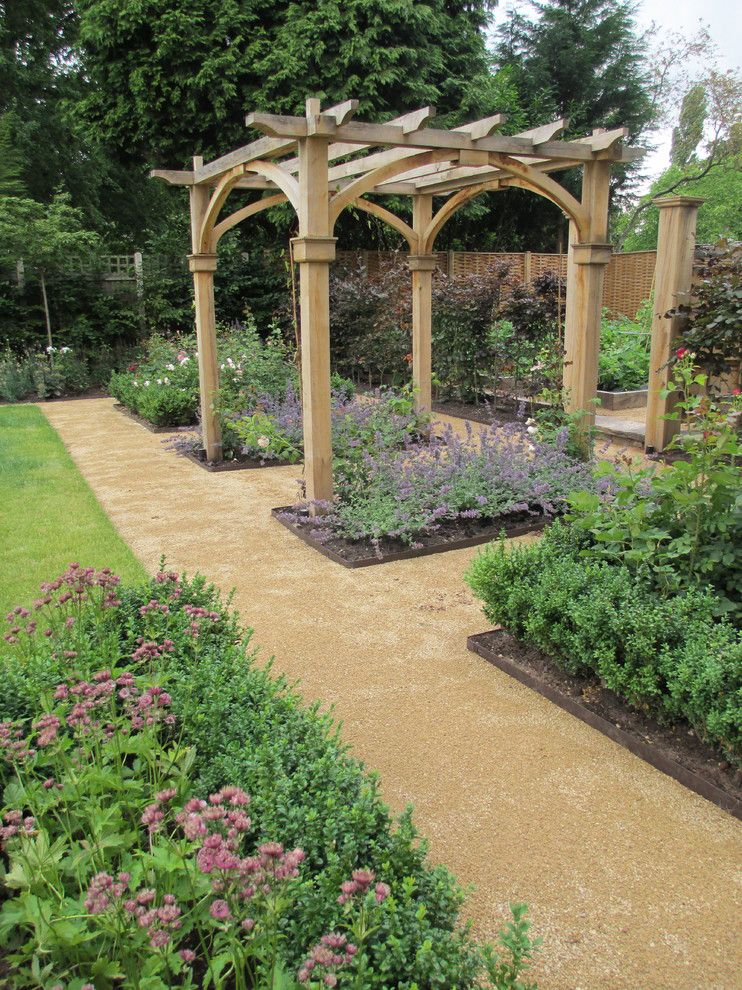 Longview Lawn and Garden for a Victorian Landscape with a Gravel Pathway and Private Garden, Staffordshire. by Janine Crimmins Garden Design