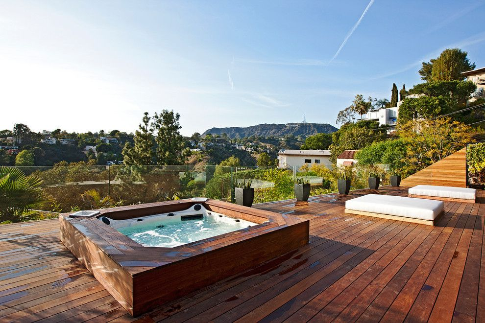 Los Gatos Spa for a Contemporary Deck with a Wood Deck and Tuxedo Terrace by Xanadu Group