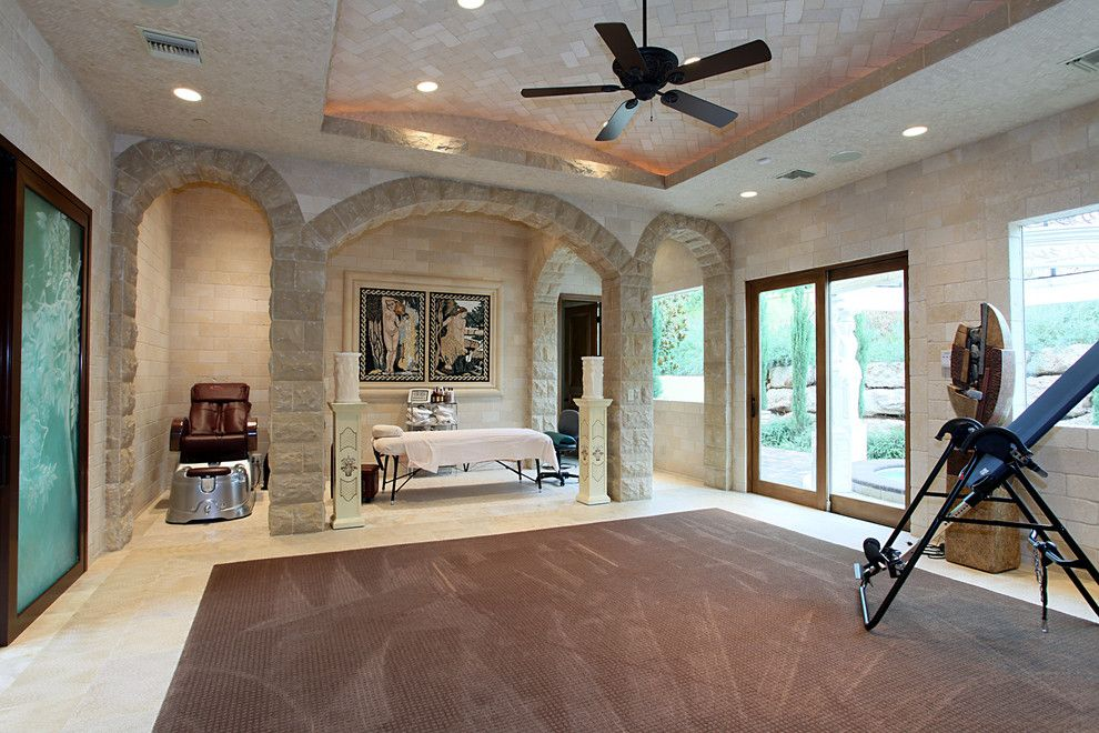 Los Gatos Spa for a Mediterranean Home Gym with a Nook and 04105 Private Residence by Pinnacle Architectural Studio