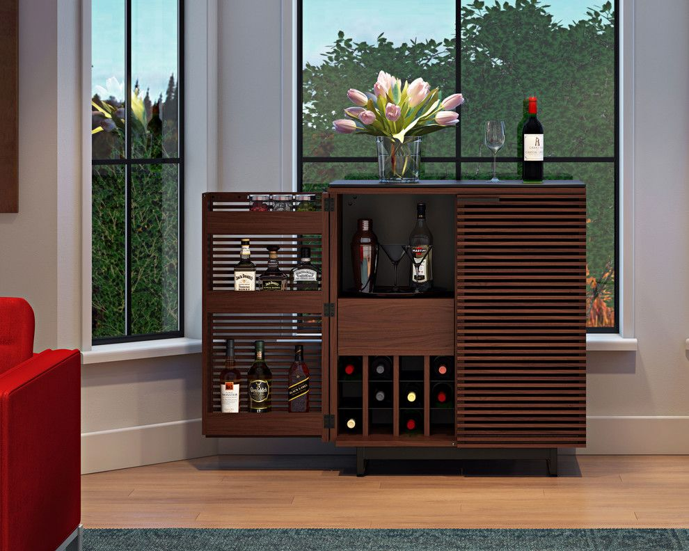 Louvered for a Contemporary Home Bar with a Liquor Cabinet and Bdi Furniture by Bdi Furniture
