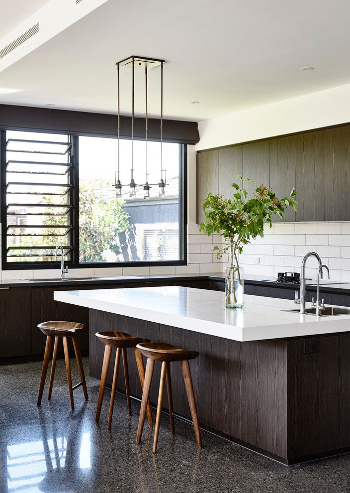 Louvered for a Contemporary Kitchen with a Wooden Barstools and Kew 16 by Camilla Molders Design