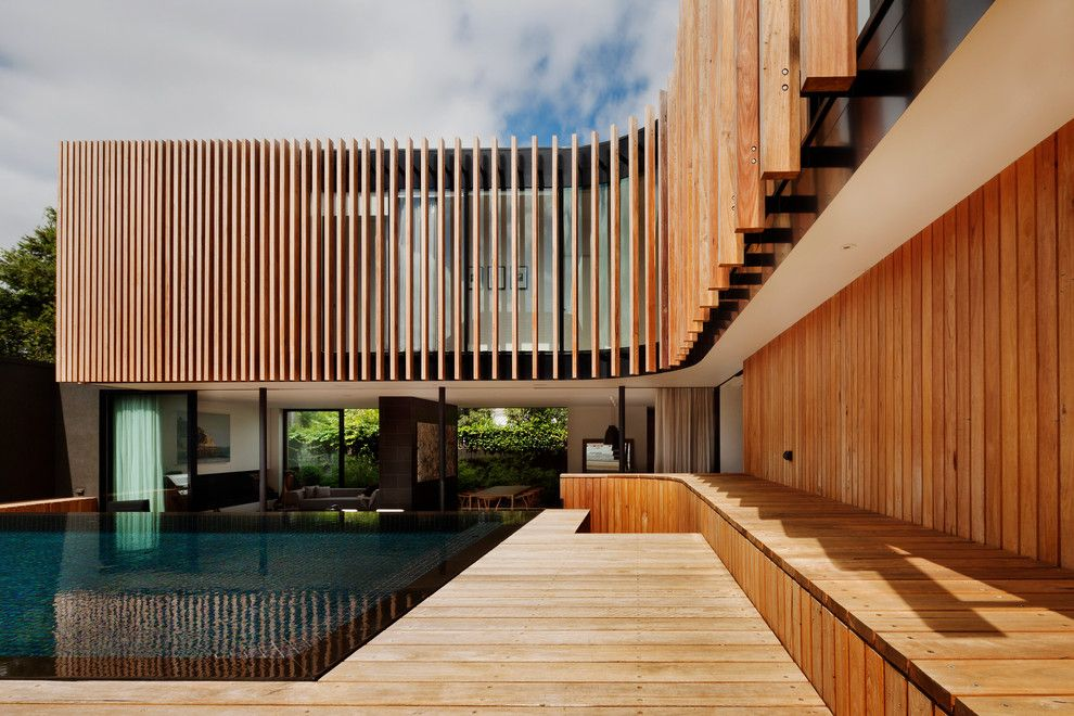 Louvered for a Contemporary Pool with a Curved and Kooyong Residence by Matt Gibson Architecture + Design