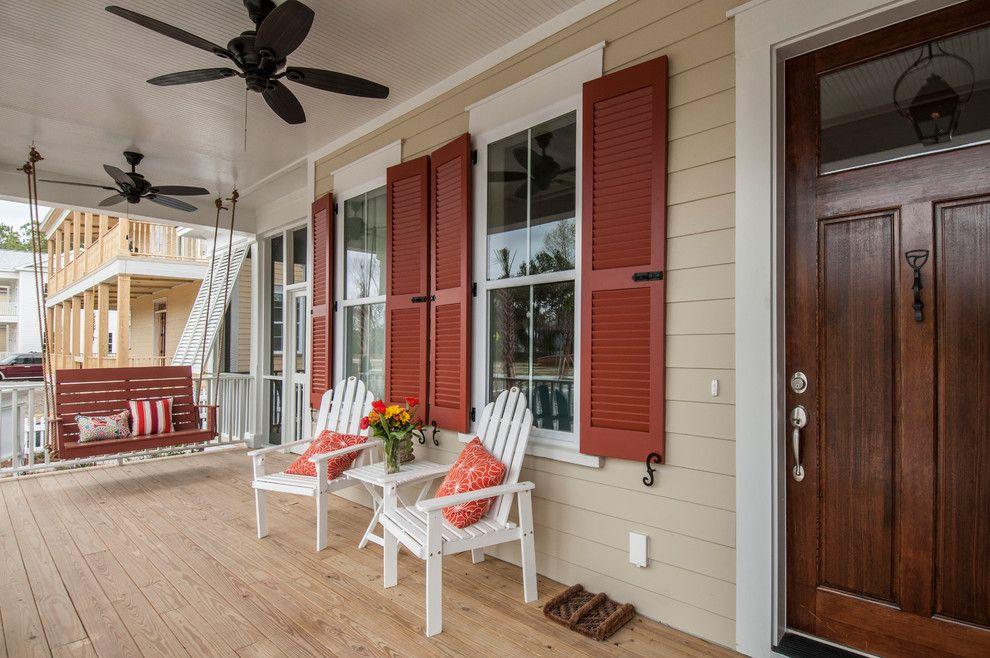 Louvered for a Traditional Porch with a Red Shutters and Tributary by Frontdoor Communities