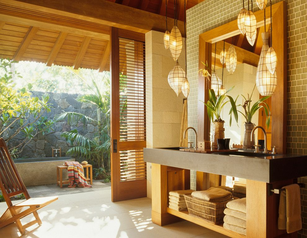 Louvered for a Tropical Bathroom with a Wood Ceiling and Master Bath by Zak Architecture