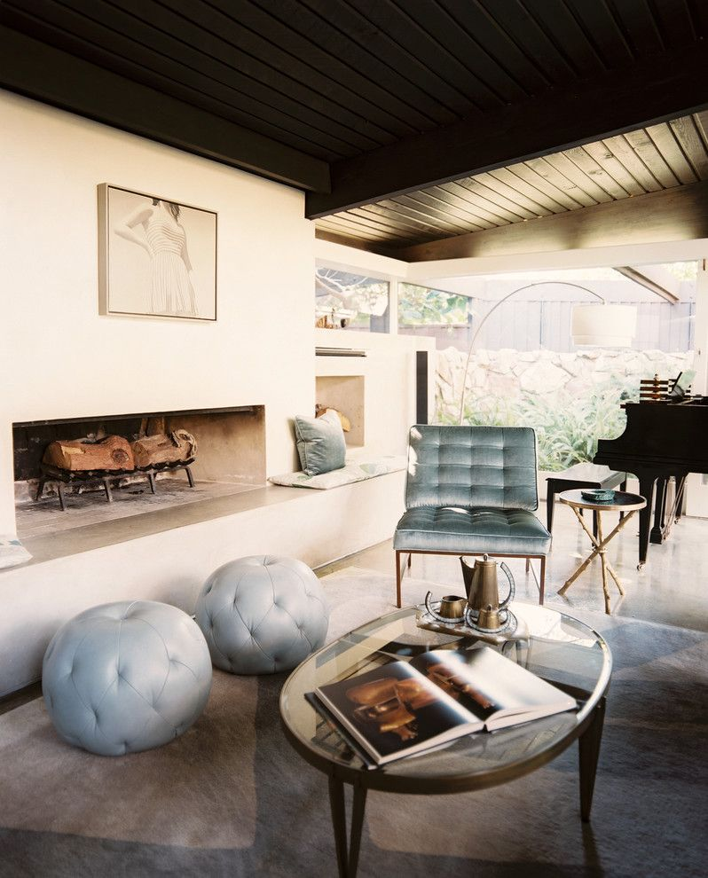 Lowes Alexandria La for a Midcentury Living Room with a Fireplace and Rustic Canyon Retreat by Hillary Thomas Designs