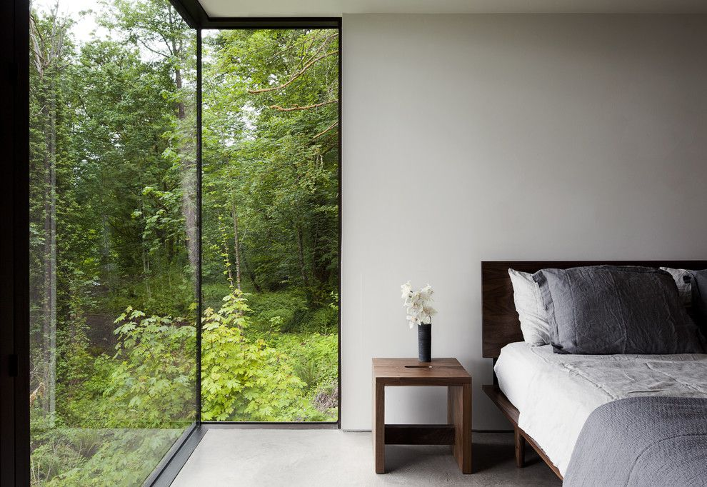 Lowes Bangor Maine for a Modern Bedroom with a Low Headboard and Case Inlet Retreat by Mw Works Architecture+Design