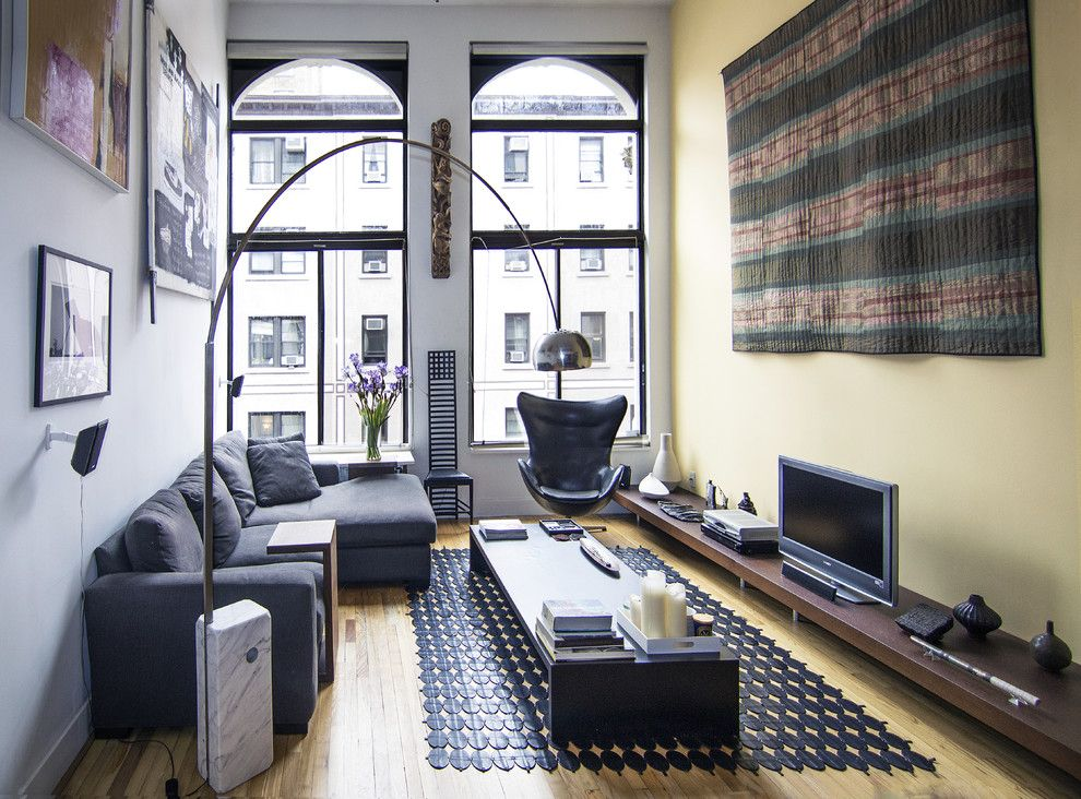 Lowes Bangor Maine for a Modern Living Room with a Yellow Wall and Greenwich Village Loft Living Room by Kimberly Peck Architect