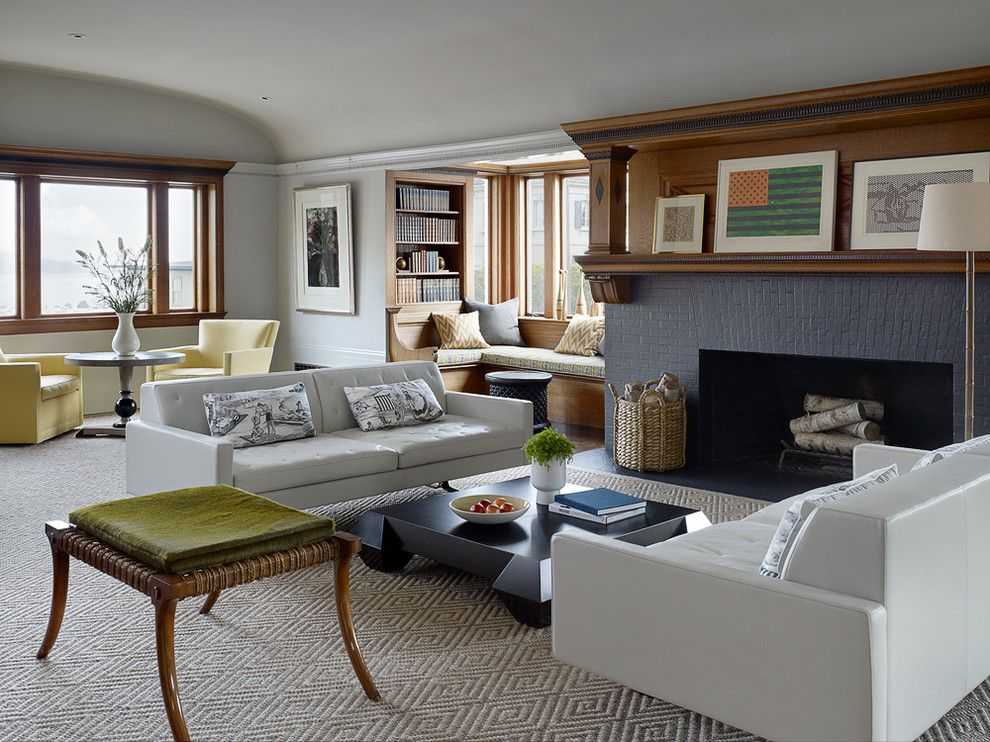 Lowes Bangor Maine for a Transitional Living Room with a Beige Carpet and Pacific Heights by John K. Anderson Design
