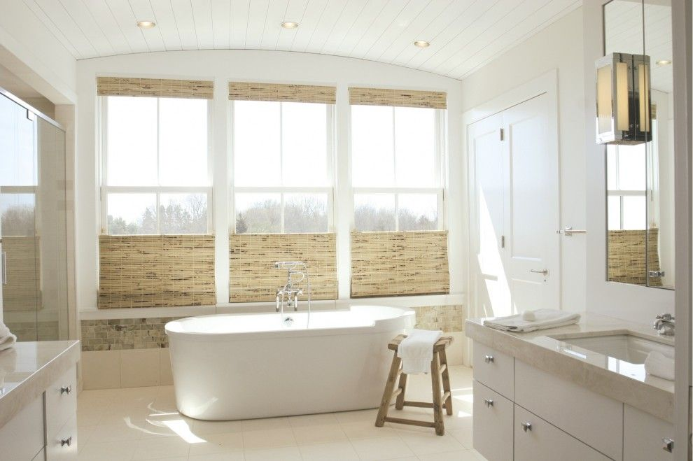 Lowes Bowie Md for a Beach Style Bathroom with a Roman Shades and Bathroom Over the Sea by Kate Jackson Design