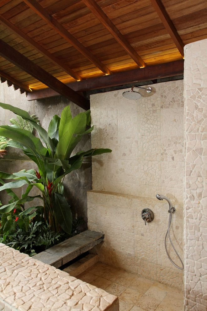 Lowes Bowie Md for a Tropical Patio with a Cove Lighting and Semi Outdoor Shower Room by Iwan Sastrawiguna Interior Design
