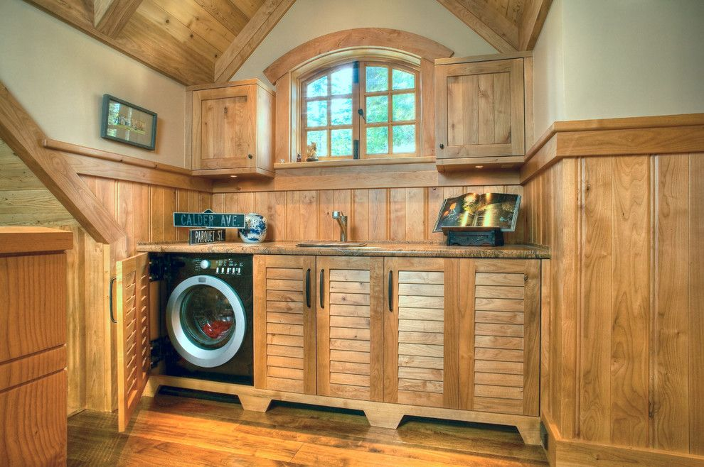 Lowes Building Supply for a Traditional Laundry Room with a Black Dryer and Tahoe Charm by Lloyd's Custom Woodwork, Inc.