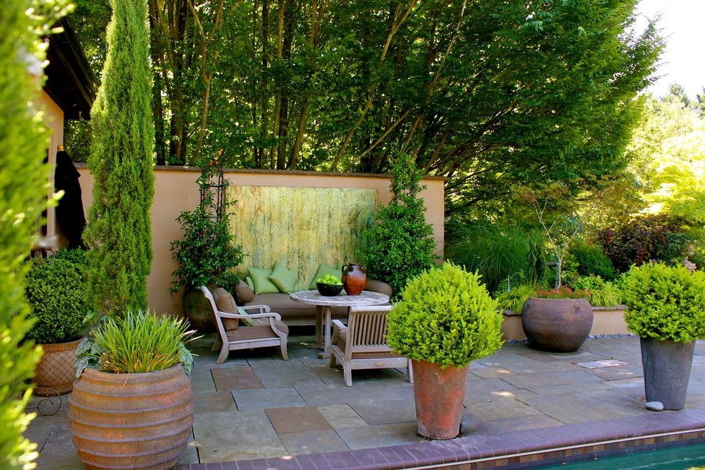Lowes Chula Vista for a Eclectic Patio with a Teak Club Chair and Carole Meyer  Www.carolemeyerart.com by Carole Meyer