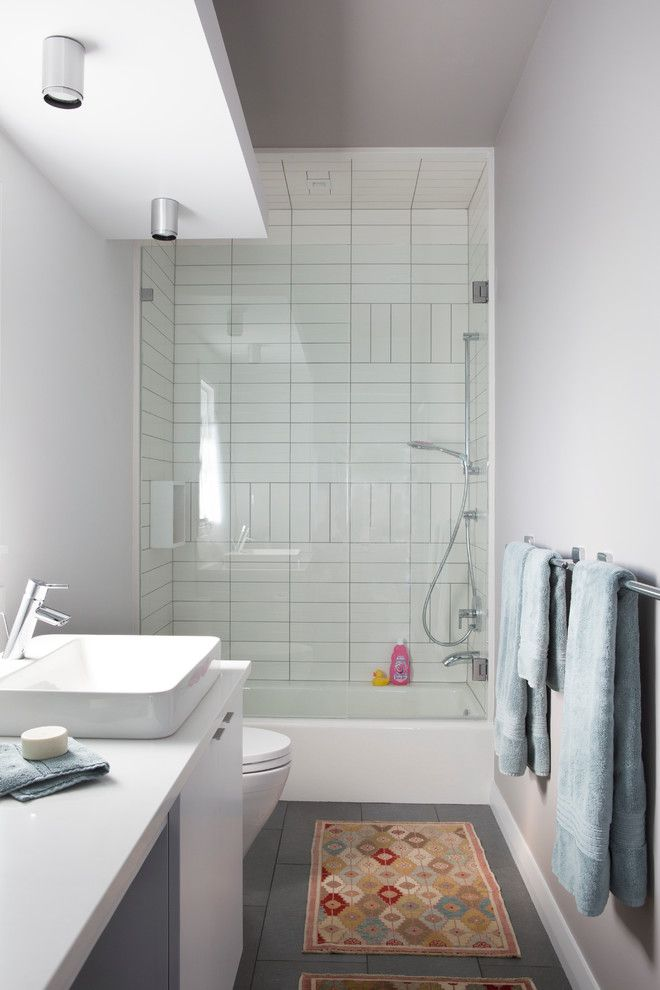Lowes Davenport for a Contemporary Bathroom with a White Walls and Davenport Ranch   Westlake by Scheer & Co. Interior Design