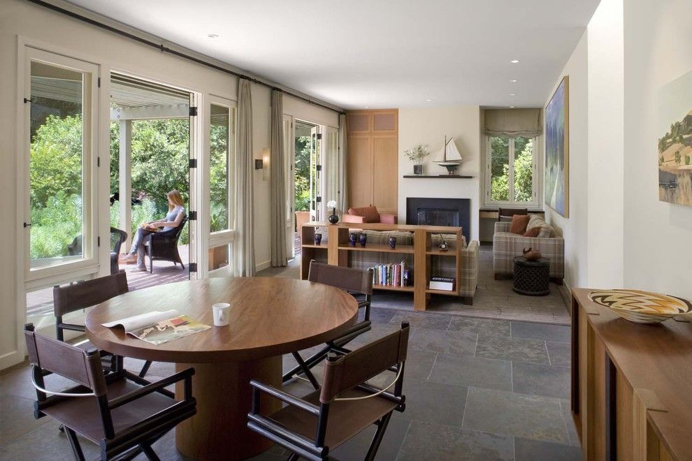 Lowes Davenport for a Contemporary Dining Room with a Painted Sheetrock Walls and Woodside Guest House by Cathy Schwabe Architecture
