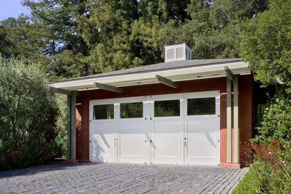 Lowes Davenport for a Contemporary Garage with a Slate Roof and Woodside Guest House by Cathy Schwabe Architecture