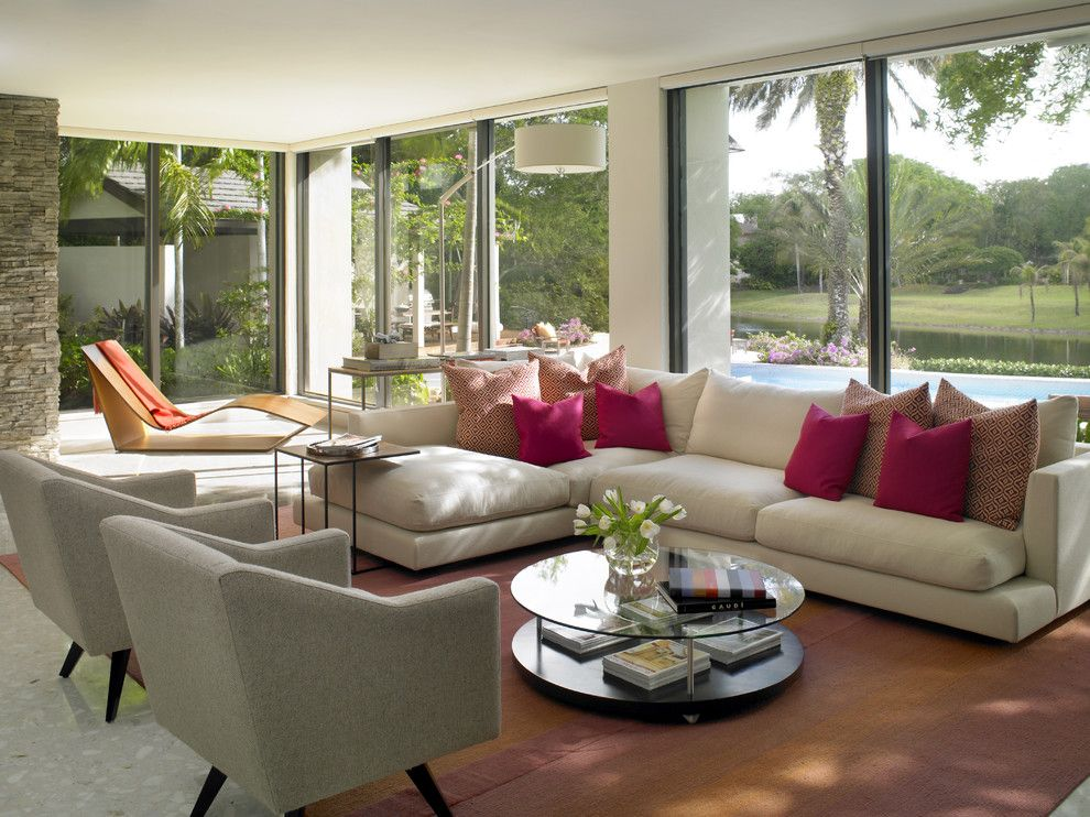 Lowes Davenport for a Contemporary Living Room with a Round Coffee Table and Snapper Creek by Michael Wolk Design Associates