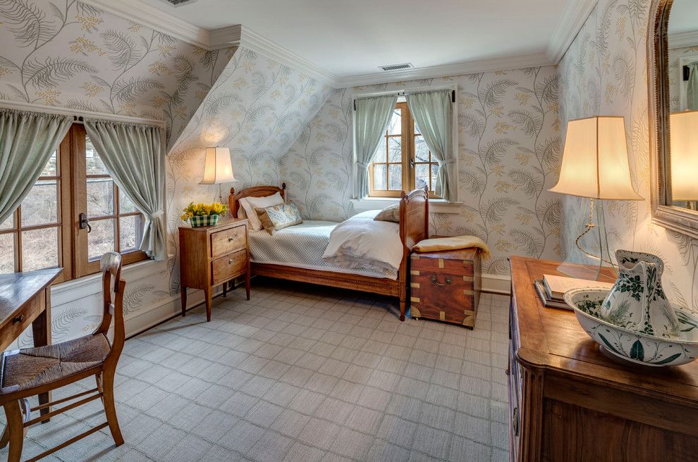 Lowes Davenport for a Farmhouse Bedroom with a Desk Chair and Mid Country French Farm by Charles Hilton Architects