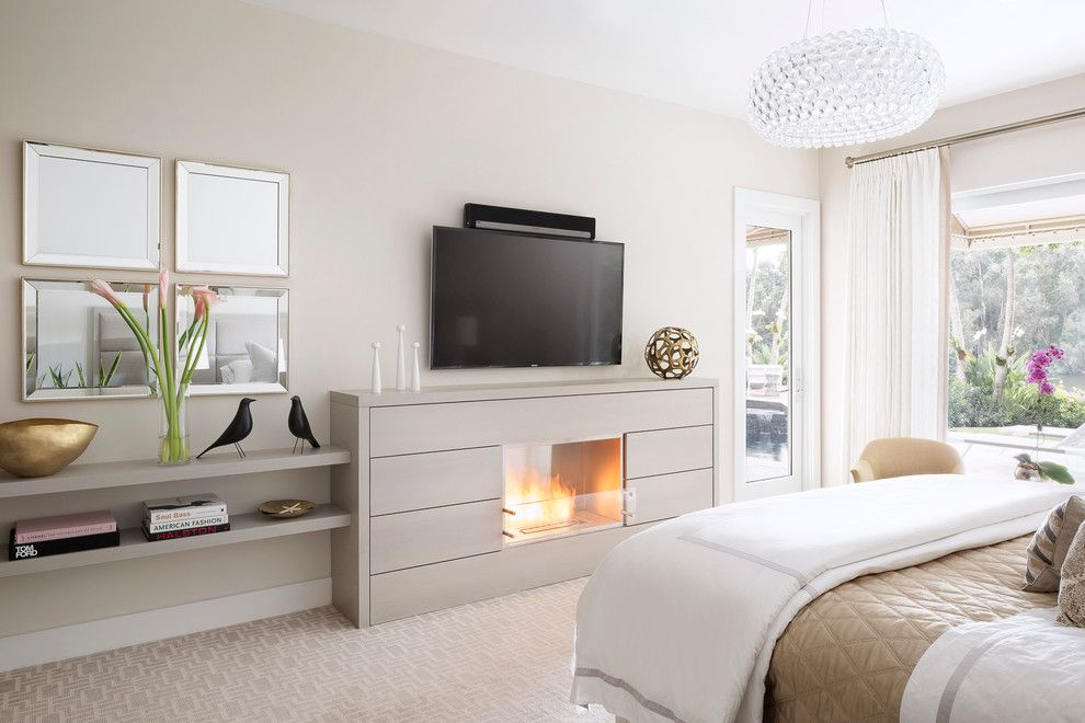 Lowes Davenport for a Transitional Bedroom with a White and Tan Bedspread and Equestrian Club Estates by Krista Watterworth Design Studio