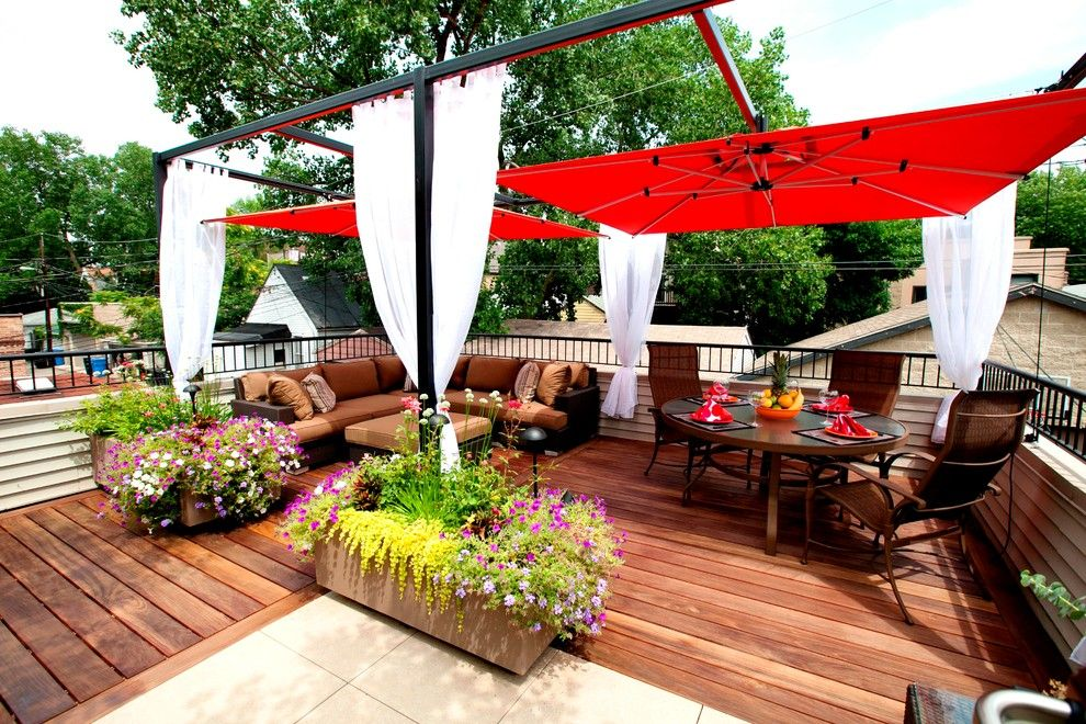 Lowes Deck Builder for a Contemporary Deck with a Terrace and Small Chicago Garage Rooftop by Chicago Green Design Inc.