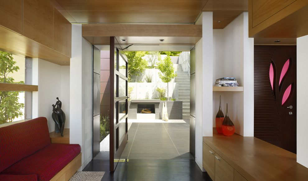 Lowes Door Installation for a Contemporary Entry with a Wood Ceiling and Charles Debbas by Charles Debbas Architecture