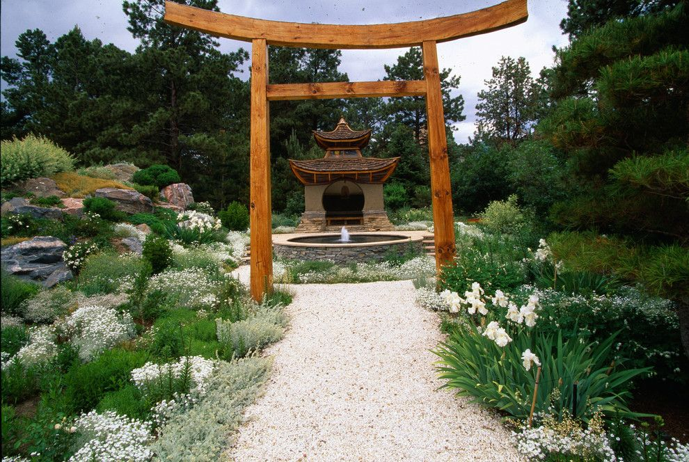 Lowes Hemet for a Asian Landscape with a Outdoor Fountain and Flowers in Space by Marpa Design Studio