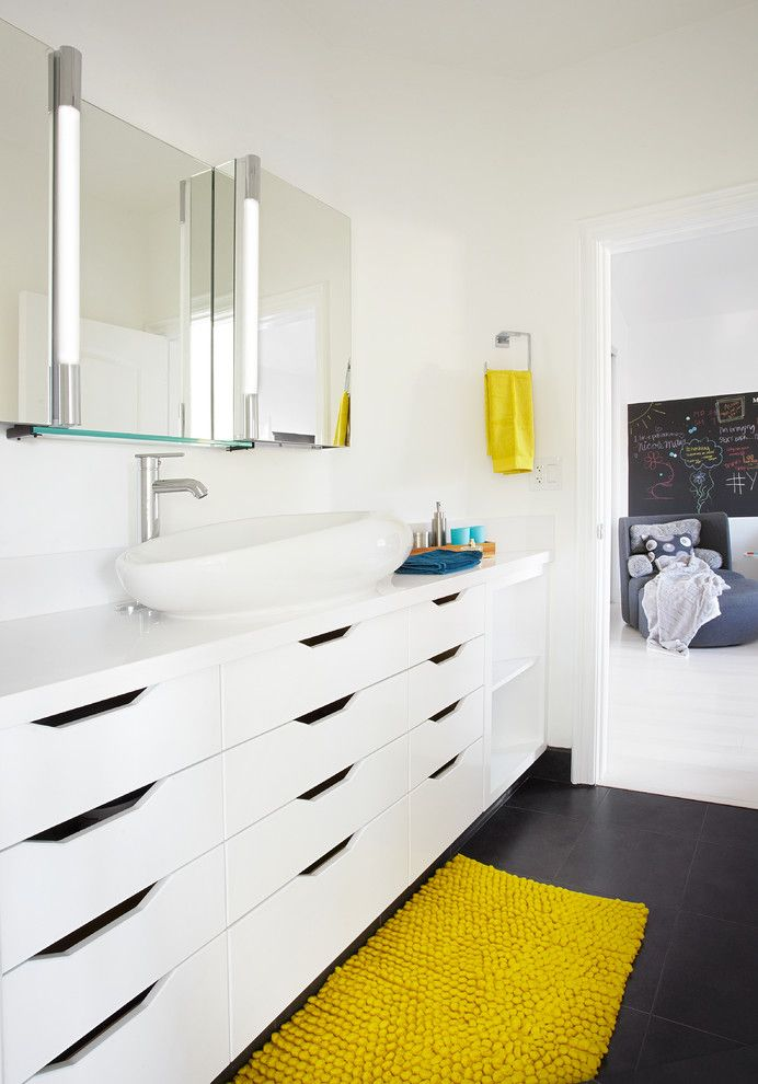Lowes Huber Heights for a Modern Bathroom with a Yellow Towel and San Clemente Interiors by Dupuis Design