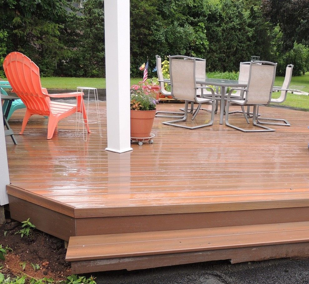 Lowes Manchester Ct for a Eclectic Deck with a Central Ct Backyard Transformations and Fiberon Horizon Ipe Deck in Portland, Ct by Archadeck of Central Connecticut