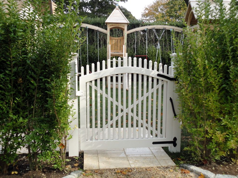 Lowes Medford for a Traditional Landscape with a Wood Fence and Custom Built White Picket Gate   Southampton, Ny by Sunrise Custom Fence