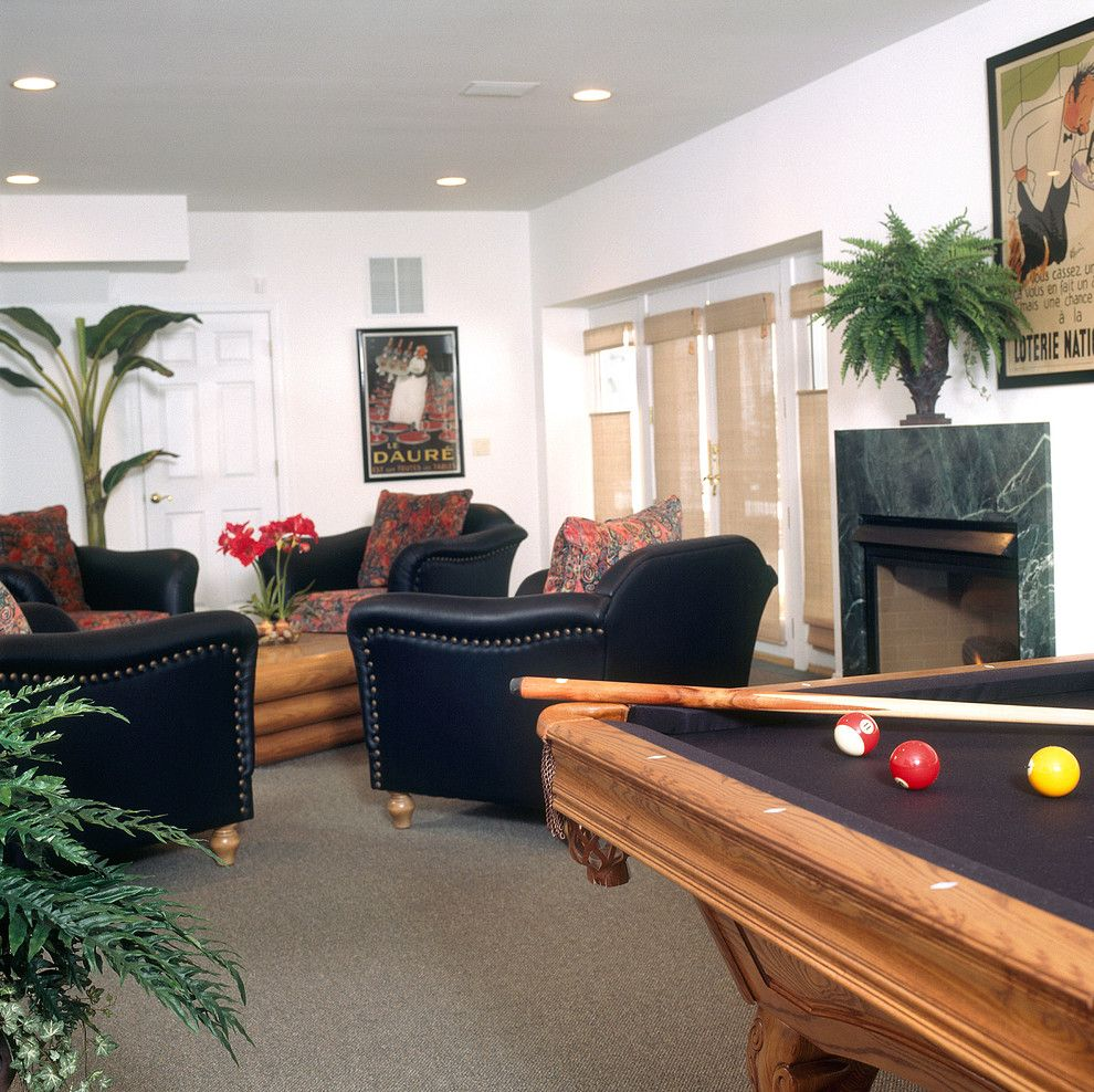 Lowes Newark De for a Contemporary Basement with a Conversation Grouping and Morganville Billiards and Seating by Sheila Rich Interiors, Llc