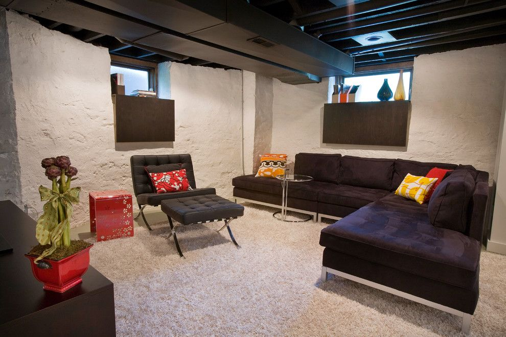 Lowes Norfolk Va for a Modern Basement with a Yellow and Duncan Avenue Basement Renovation by Ryan Duebber Architect, Llc