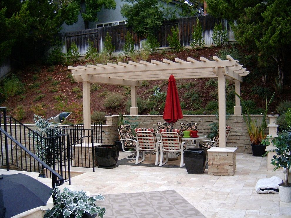 Lowes Palmdale Ca for a Eclectic Patio with a Stone Columns and Outdoor Dining and Arbor, San Jose, Ca. by W. Jeffrey Heid   Landscape Architect/designer