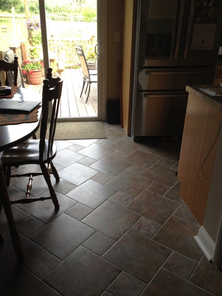 Lowes Palmyra Pa for a Traditional Kitchen with a Tile Floor Pattern and Kraftmaid Sides Kitchen   Kirkland Hickory by Lowe's of Palmyra, Pa