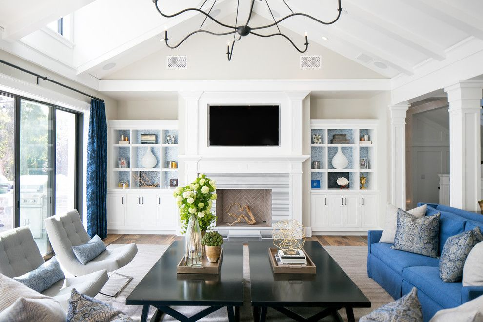 Lowes Queensbury Ny for a Beach Style Living Room with a Blue Curtains and St. James by Brooke Wagner Design