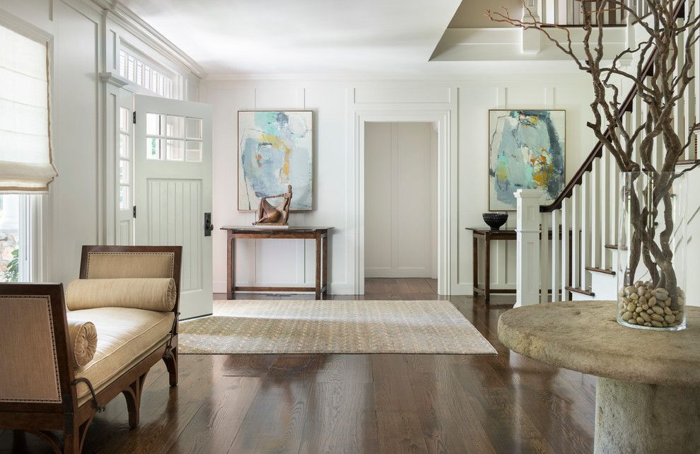 Lowes Queensbury Ny for a Transitional Entry with a Chaise and Lakeside Home by Hollester Interiors