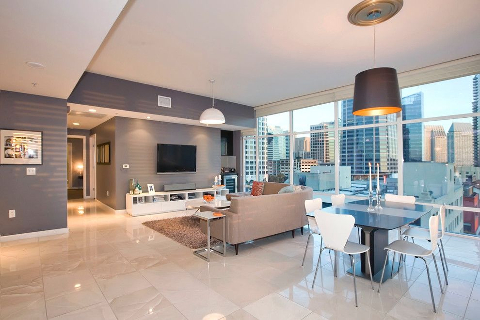 Lowes San Diego for a Contemporary Dining Room with a White Dining Chair and Downtown San Diego Condo by Mindy Nicole Photography