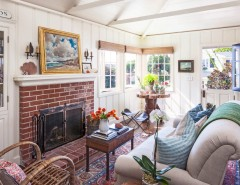 Lowes Santa Clarita for a Beach Style Living Room with a Brick Chimney and Lombardy Lane, Laguna Beach by Clark Collins - Collins Design & Development