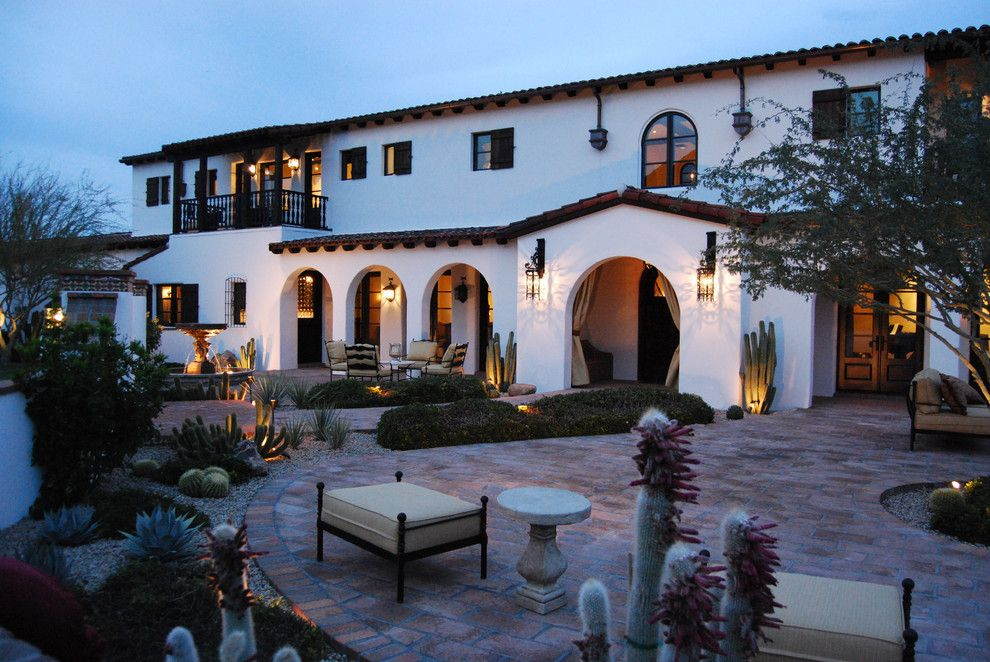 Lowes Santa Clarita for a Mediterranean Exterior with a Covered Outdoor Spaces and Paradise Valley Spanish Colonial by Higgins Architects