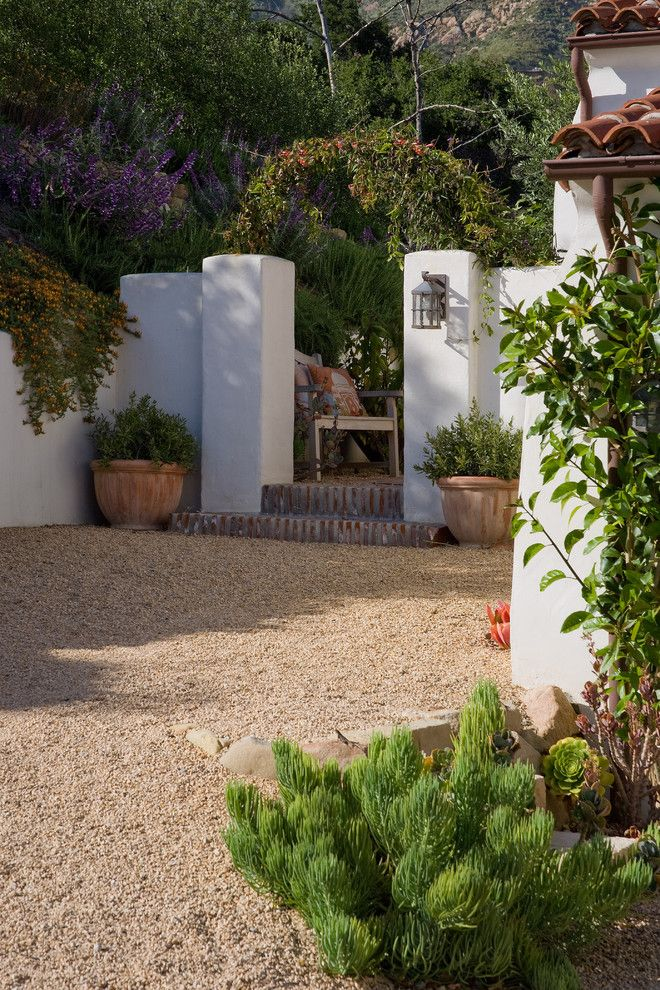 Lowes Santa Clarita for a Mediterranean Landscape with a Gravel Driveway and Grace Design Associates by Margie Grace   Grace Design Associates