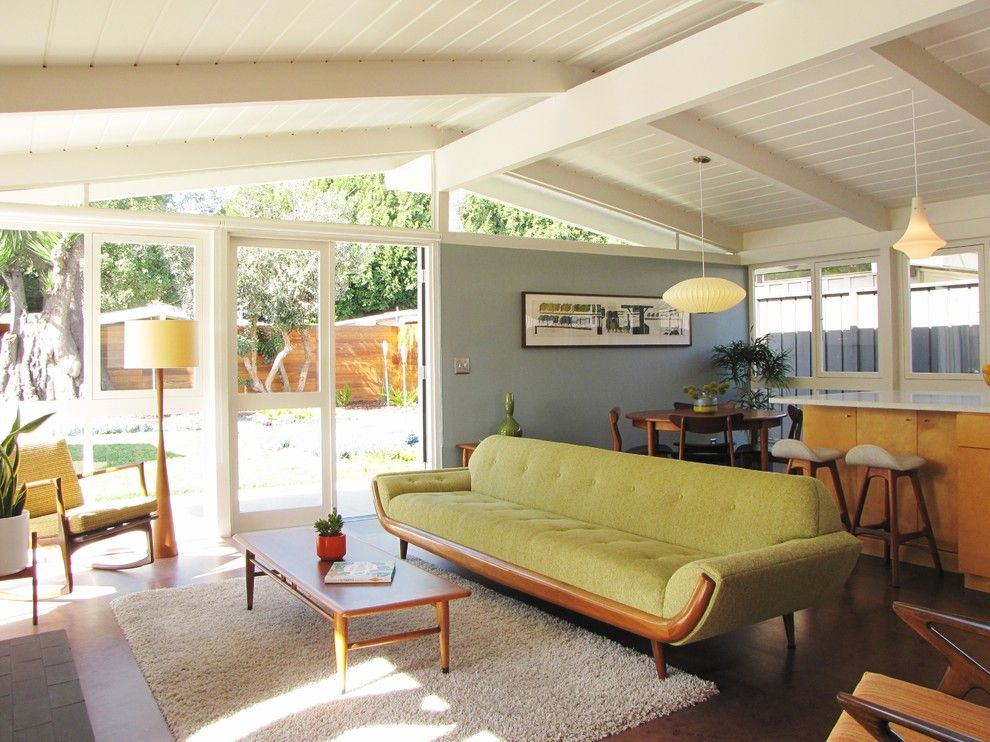 Lowes Stock Price Today for a Midcentury Living Room with a Wood Coffee Table and My Houzz: A Mid Century Marvel Revived in Long Beach by Tara Bussema   Neat Organization and Design