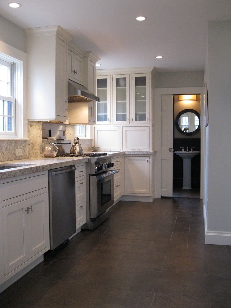 Lowes Stock Price Today for a Traditional Kitchen with a Bosch and Transitional Kitchen with Custom Cabinets & Powder Room with Marble Floor by Studio M  |  Design