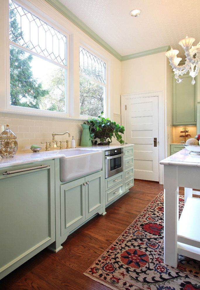Lowes Stock Price Today for a Traditional Kitchen with a Suzani Rug and 1901 Kitchen Remodel by Garrison Hullinger Interior Design Inc.